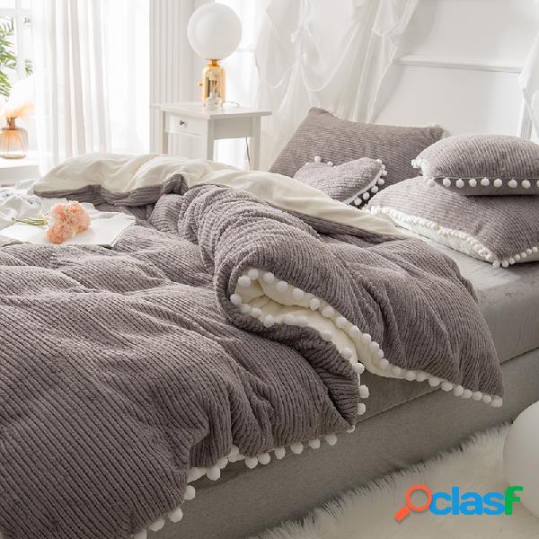 4 pcs dupla face dehair angora de cristal de veludo conjunto de cama de inverno queen king quilt capa folha de cama
