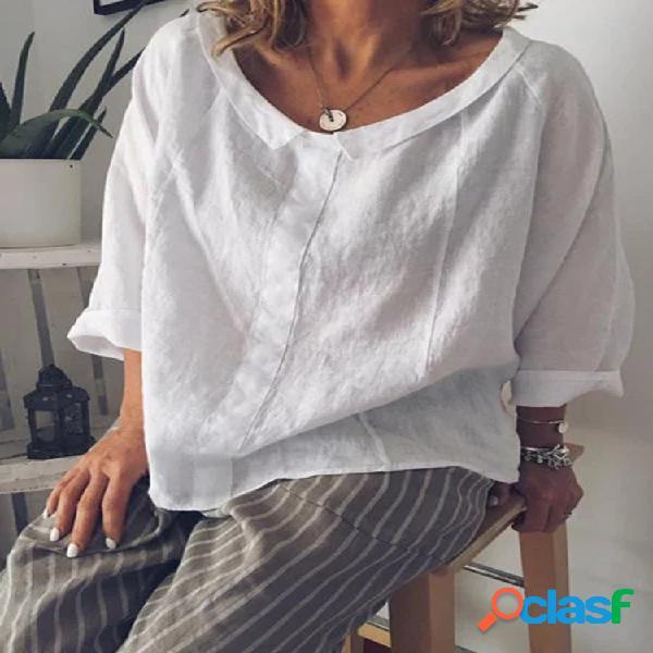 Lapela cor sólida solta 3/4 manga blusa casual para mulheres