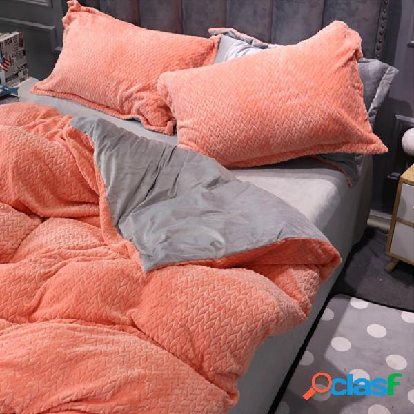 Ab side trigo cashmere espessamento de cristal de veludo conjuntos de cama queen size king quilt cobrir cama