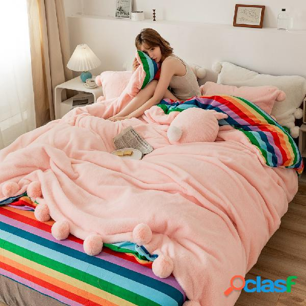 4pcs engrossar veludo de pelúcia dupla face inverno cama casa quarto rainha king size cama de inverno