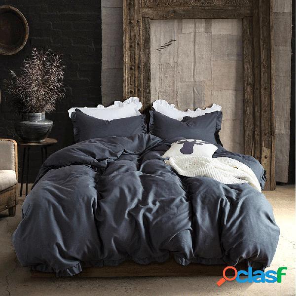 Seda soft pure egípcio conjunto de cama de cor sólida tamanho da família conjunto de capa de edredão lençol fronha twin queen king size