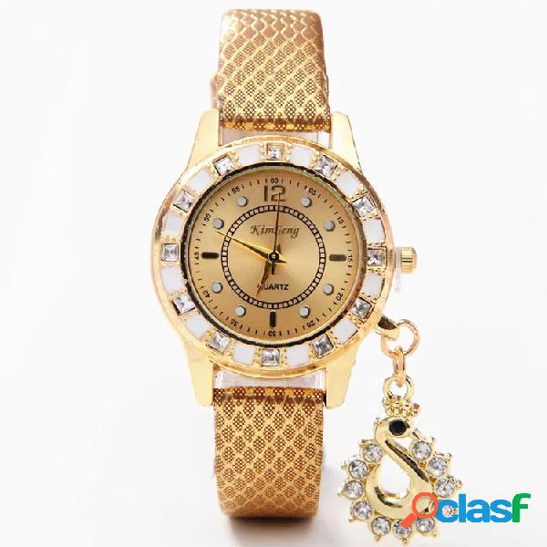 Relógio feminino de quartzo pulseira de couro cisne decorativo