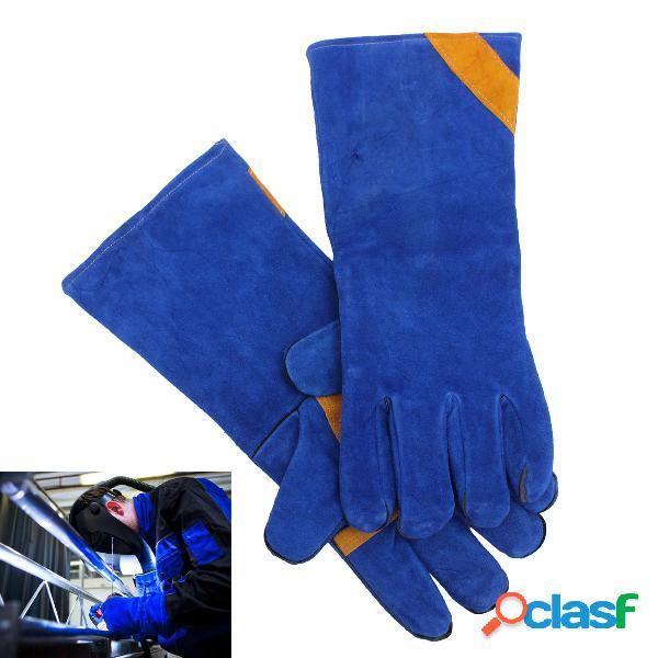 Um par de luvas de solda de isolamento azul engrossa luvas de couro