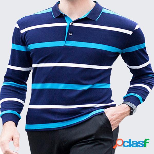 100% algodão polo tricotado manga longa casual formal