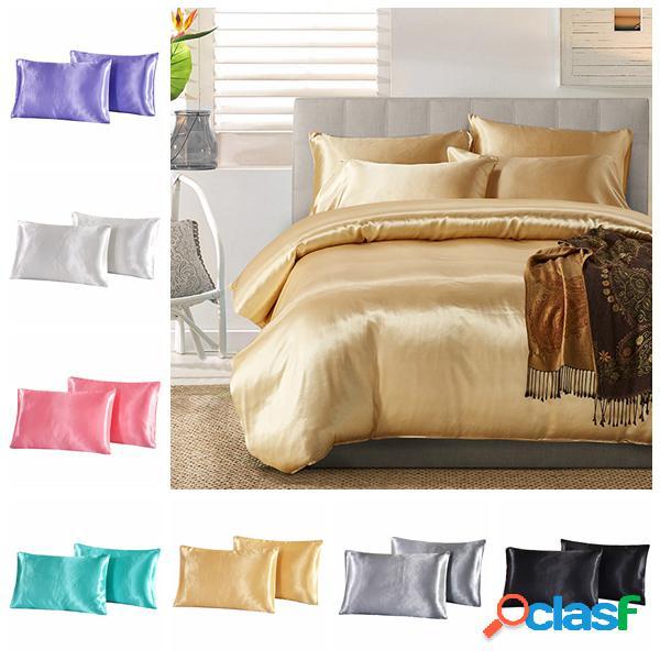 2pcs imitação de seda travesseiro caso cobrir sacos de almofada stand cama queen size conjuntos de cama