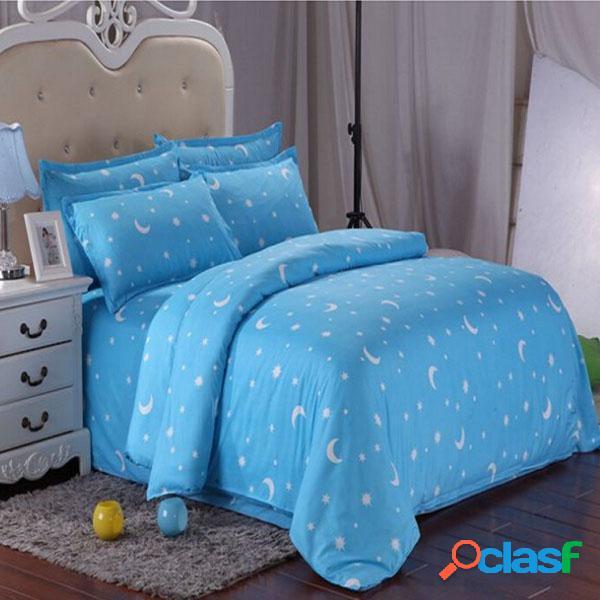 Cotton blue stars moon printing bedding set folha de cama duvet cover single twin queen size