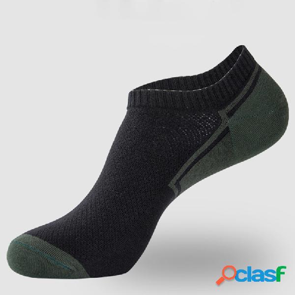 Homem 6 pares aleatória cor algodão fino elasticidade suor respirável durável barco meia