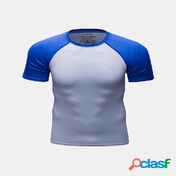 Academias dos homens apertados quick dry respirável aptidão camisas de treinamento t