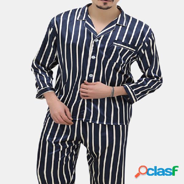 Listras do bolso da caixa que imprimem grupos home do pijama para homens