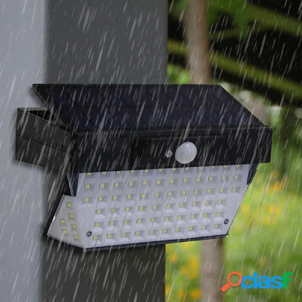 Solar powered 78 led pir sensor de movimento à prova d 'água luz de parede ao ar livre do jardim de emergência lâmpada de segurança