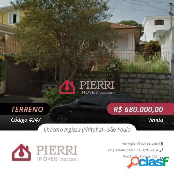 Terreno venda pirituba / chácara inglesa - 12, 45 de frente