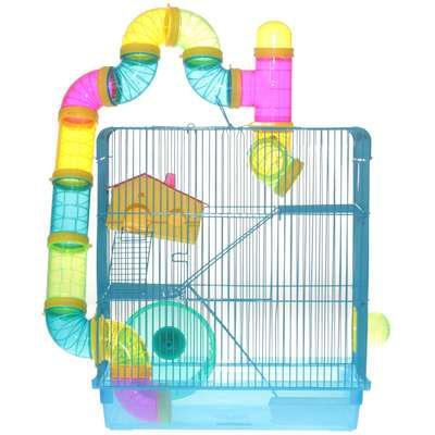 Gaiola american pets hamster 3 andares + labirinto - azul