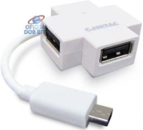 Hub otg micro usb 4 portas - para smartphones, tablets -