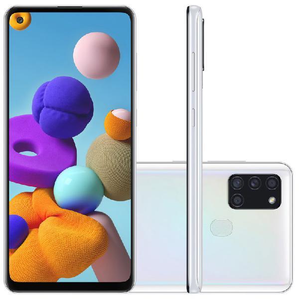 "Samsung galaxy a21s 6,5"" dual chip 64gb 4gb ram branco octa"