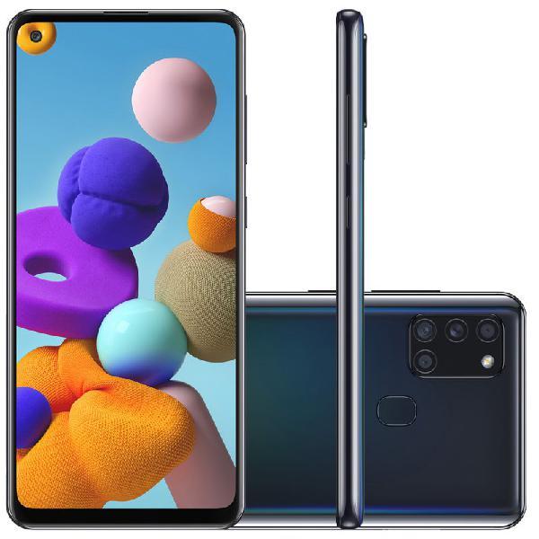 "Samsung galaxy a21s 6,5"" dual chip 64gb 4gb ram preto octa"