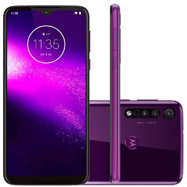 Smartphone motorola one macro 64gb ram 4gb ultra violet tela