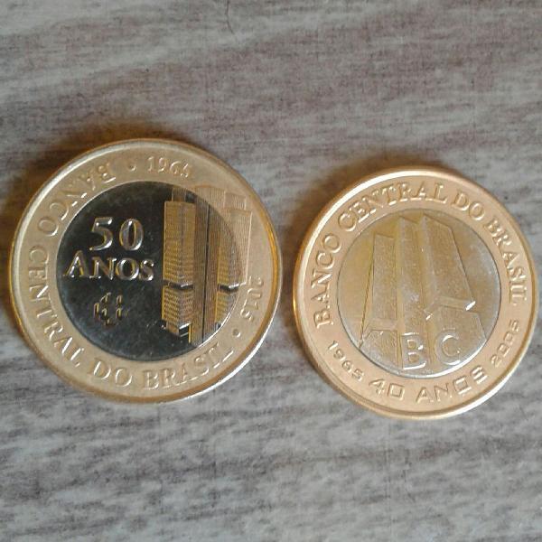 02 moedas comemorativa bc 40 anos e bc 50 anos