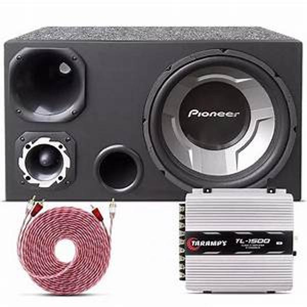 Kit som automotivo caixa trio sub pioneer bluetooth taramps