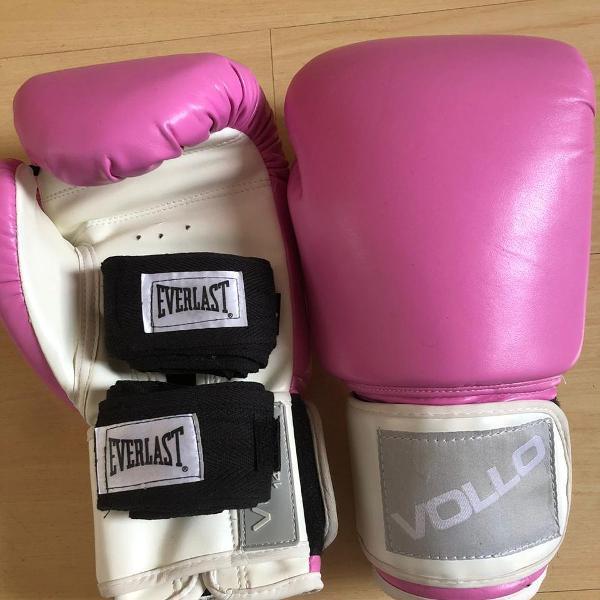 Luva de boxe/muay thai everlast pro style 12 oz - rosa