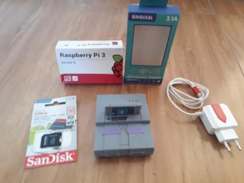 Raspberry pi3 b + fonte + cartão sd 32gb + case super nes
