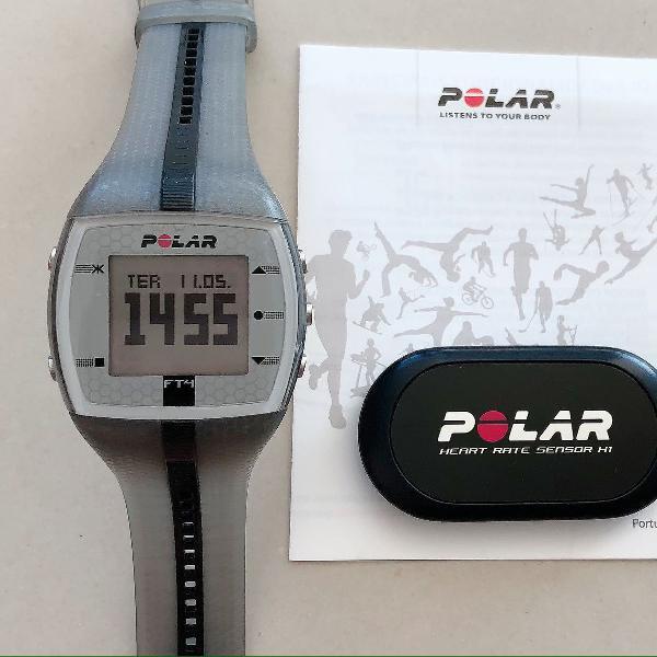 Relógio polar ft4 unissex com pulseira cinza/preta +