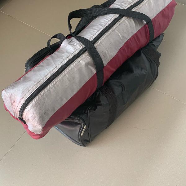Kit camping - barraca/ colchão inflável e bomba para
