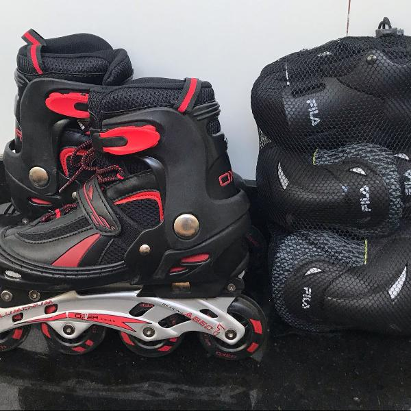 Kit patins + proteção para deixar o rolê seguro