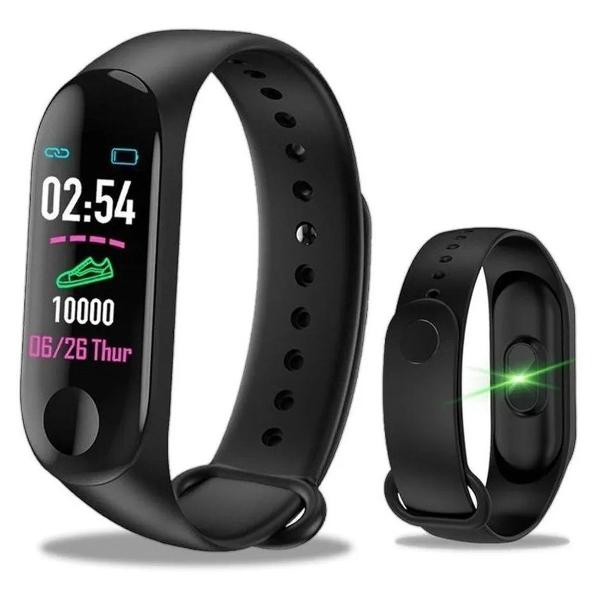 Relógio inteligente smarwatch m3 monitor cardíaco e