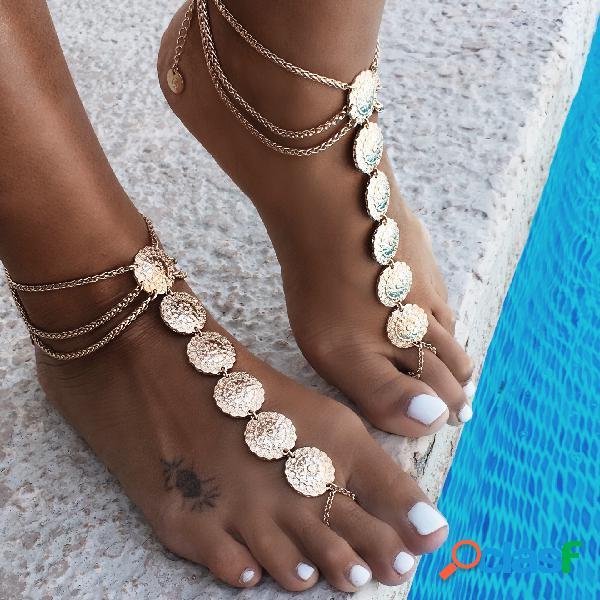 Tornozeleira longa esculpida vintage tornozeleira liga multicamadas étnica com toe anklet para mulheres