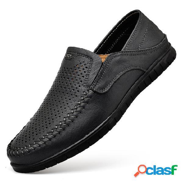 Sapatos de couro respirável de condução de tamanho grande de homens