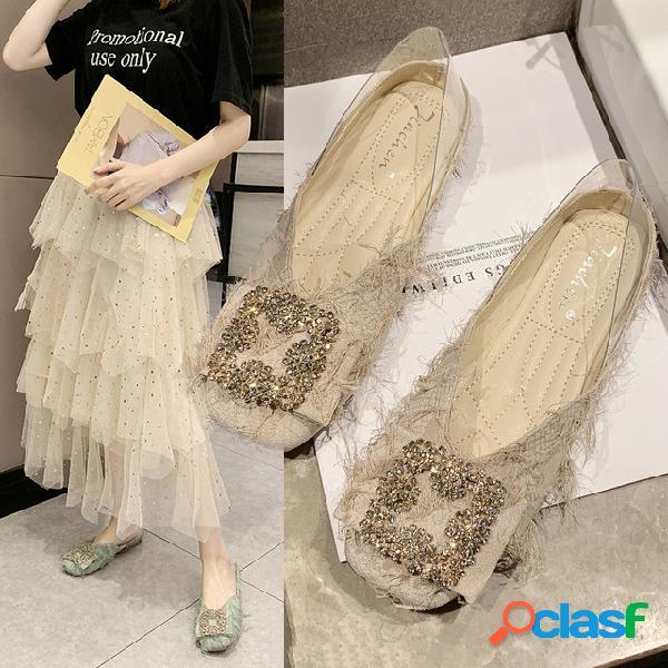 Sapatos único das mulheres temporada nova boca rasa transparente sapatos baixos borla quadrada cabeça chic fada selvagem scoop sapatos sapatos femininos