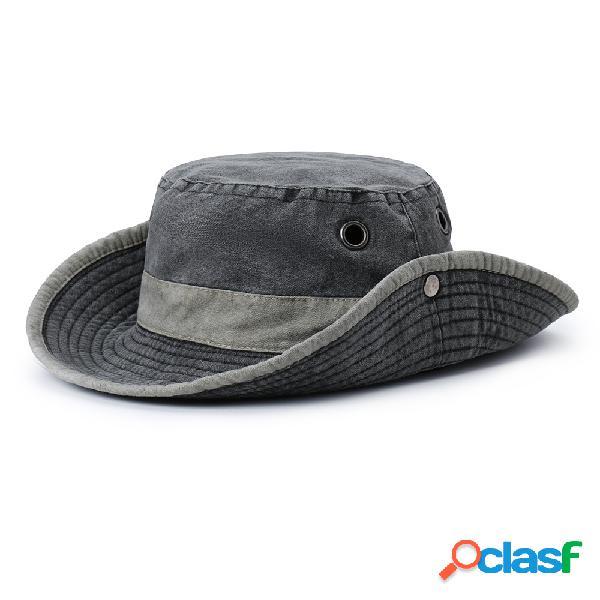 Unisex algodão lavado pescador chapéu protetor solar proteção respirável uv boné ajustável