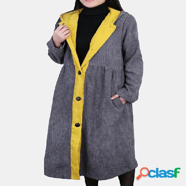 Trench coat com capuz de retalhos de veludo plus