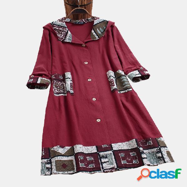 Trench coat de algodão com capuz de retalhos de impressão vintage plus