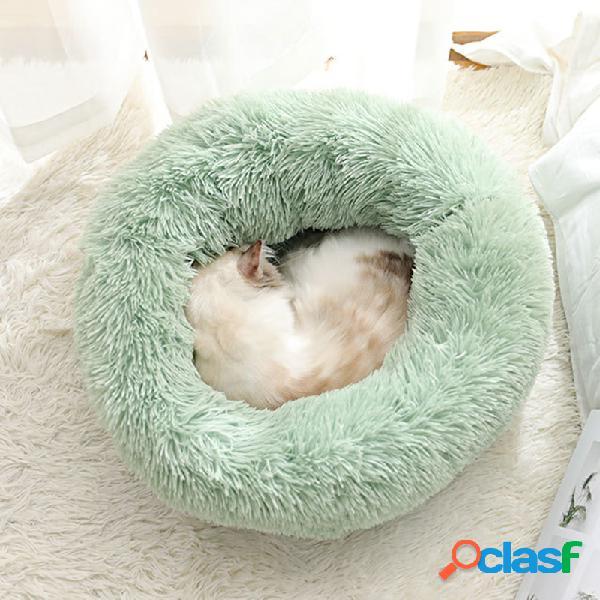 Abacate verde longo pelúcia super soft canil redondo pet canil cachorro almofada de dormir confortável para gato