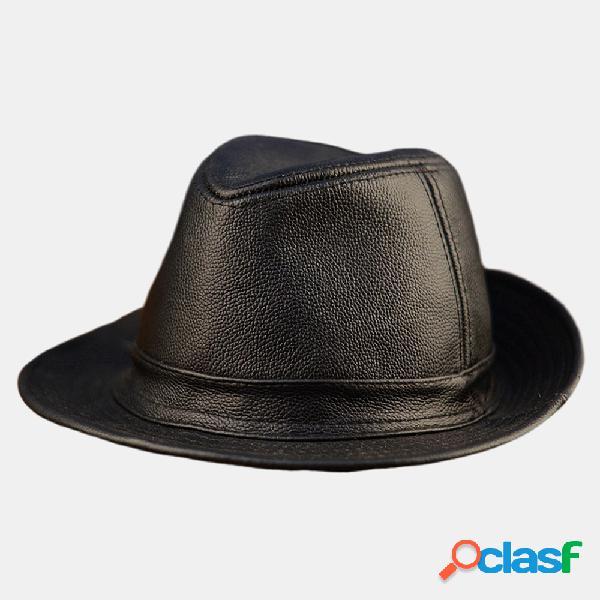 Couro dos homens chapéu couro chapéu couro ao ar livre chapéu jazz chapéu cavalheiro cowboy chapéu