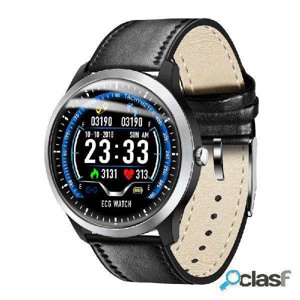 Relógio multifunções de fitness ekg display hr monitor de sono 3d ui rastreador pulseira de couro relógio inteligente
