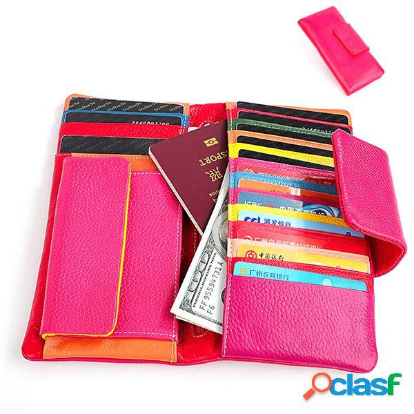 Couro genuíno 15 card slots cartão titular phone wallet bolsa para mulheres