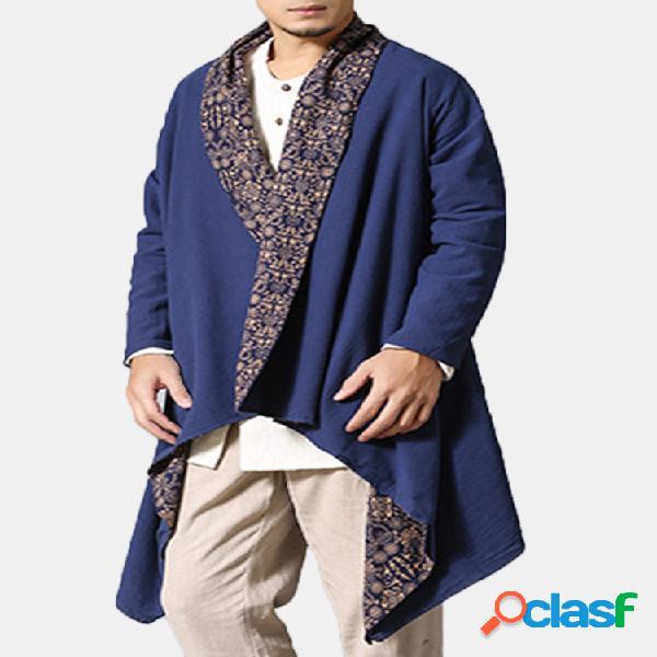 Trench coat wearable frente e verso de algodão dos homens camisa cardgans reversível roupas étnicas casuais