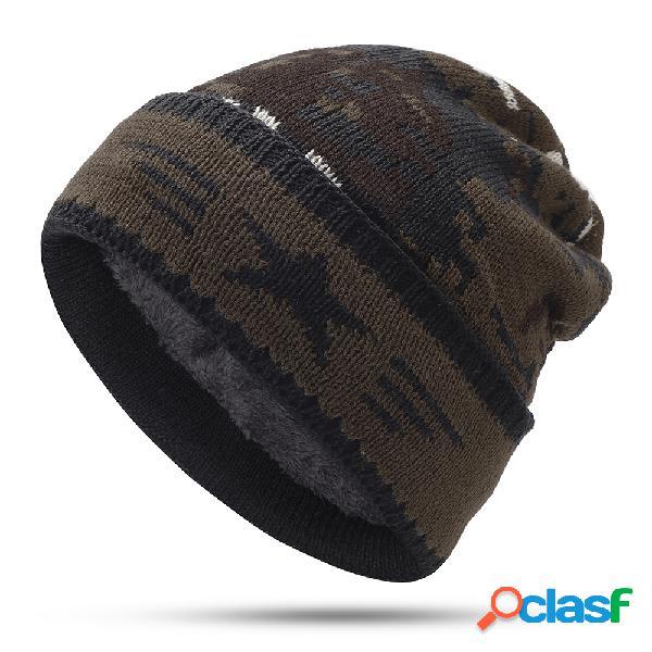 Mens camuflagem de lã de pelúcia beanie chapéu vintage bom elástico vintage quente inverno caps