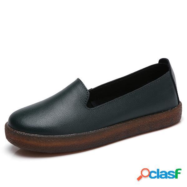 Sapatos femininos loafers de couro requintado suave e cor pura