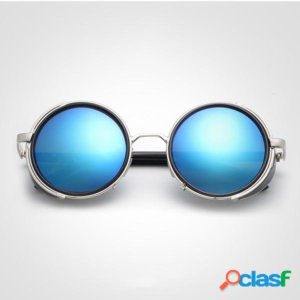Óculos de sol lente redondo casual retro steam punk anti-uv viagem para mulheres e homens