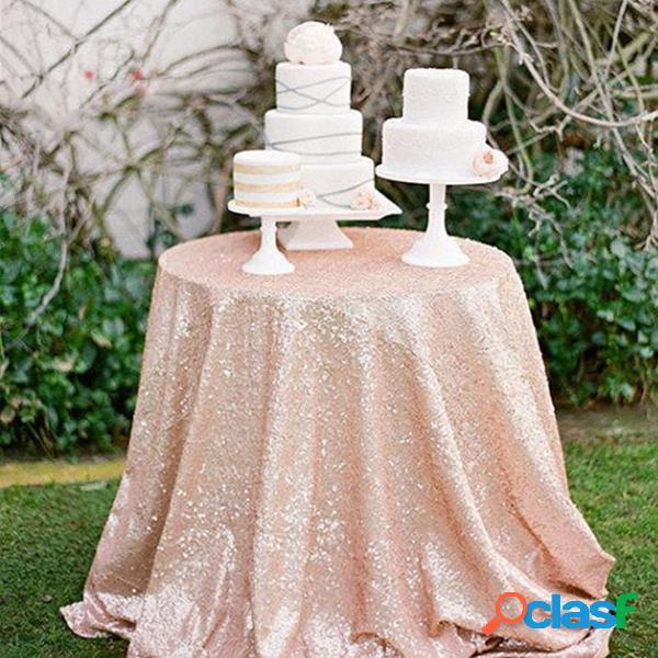 12''x120 '' sparkly rose gold shine sequin table cloth dinner decoração de banquete de casamento