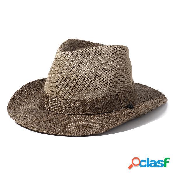 Mens linho sunshade respirável uv proteção larga brim stripe padrão bucket chapéus