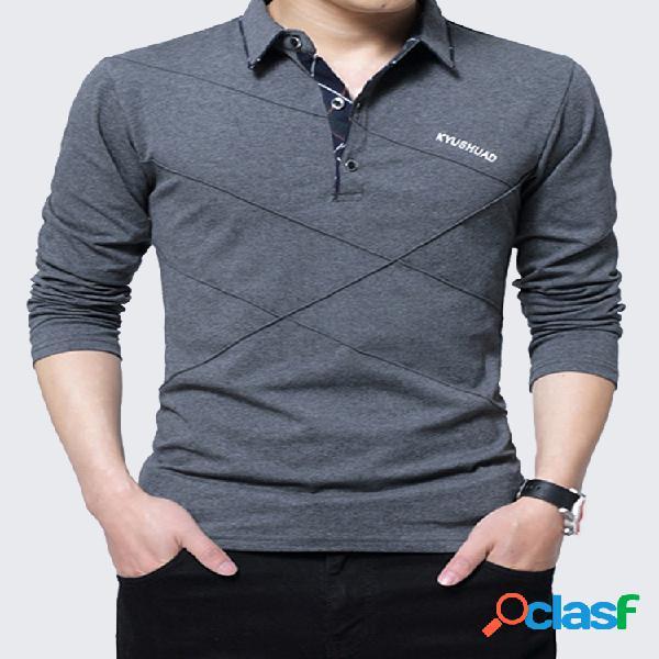 Mens line design forro de lã gola de abertura de cama manga longa polo de algodão casual camisa