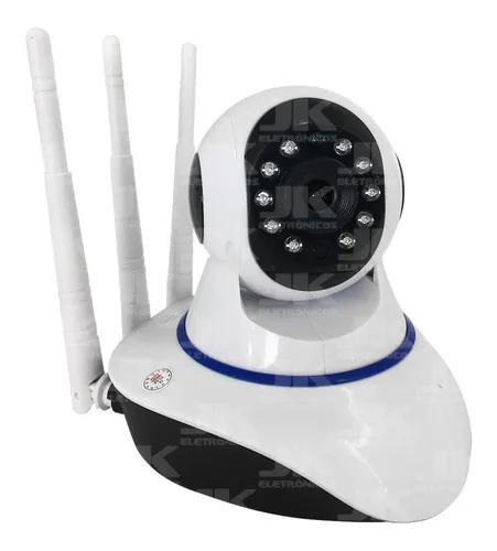 Câmera ip wireless wifi com 3 antenas onvif hd giro 360°