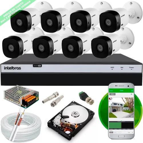 Kit 8 cameras 1220b intelbras full hd dvr mhdx 3108 hd cabo