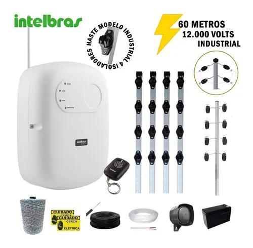Kit cerca elétrica industrial intelbras 60 metros c/ alarme