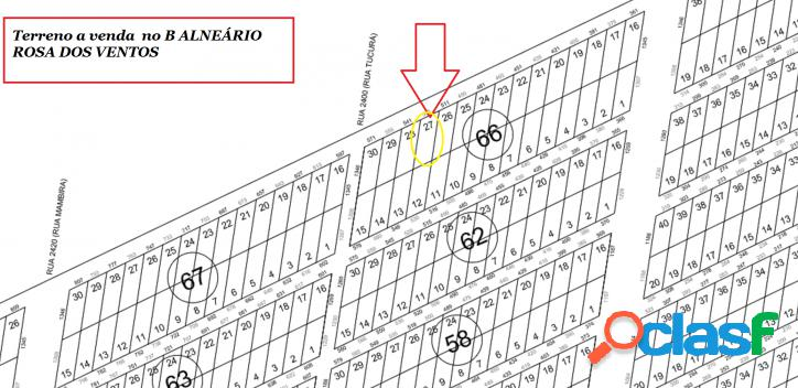 Terreno parcelado balneário rosa dos ventos - 450,00 m²