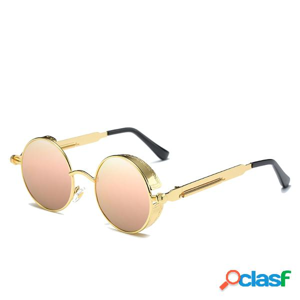 Óculos de sol vintage esportivos uv400 steampunk lente redonda espelhada